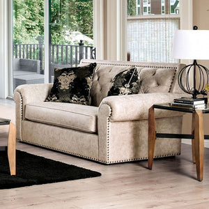 Furniture of America Parshall Beige Button Tufted Loveseat