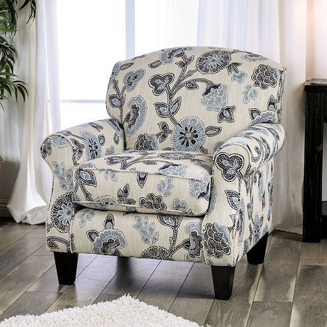 Furniture of America Nash Traditional Ivory Finish Floral Chair