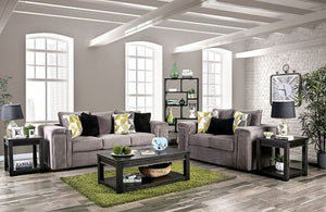 Furniture of America 2 Piece Bradford Gray Finish Sofa Loveseat Set
