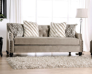 Furniture of America Ezrin Light Brown Chenille Upholstery Sofa