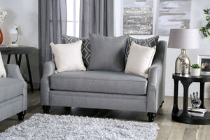 Furniture of America Nefyn Gray Finish Burlap Weave Loveseat