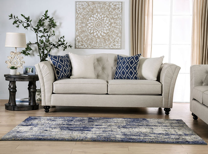 Furniture of America Porth Ivory Linen Like Fabric Upholstery Sofa