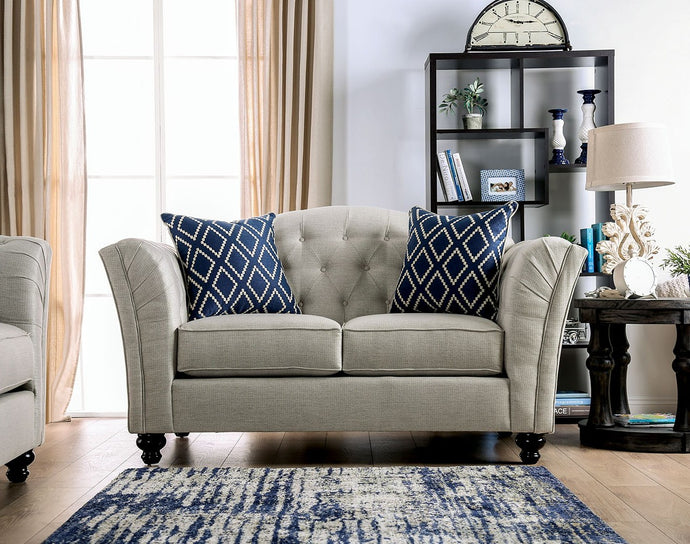 Furniture of America Porth Ivory Linen Like Fabric Upholstery Loveseat