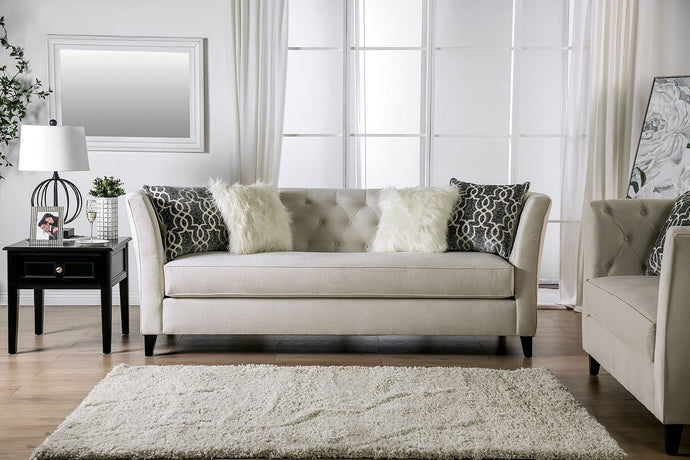 Furniture of America Monaghan Ivory Chenille Upholstery Sofa