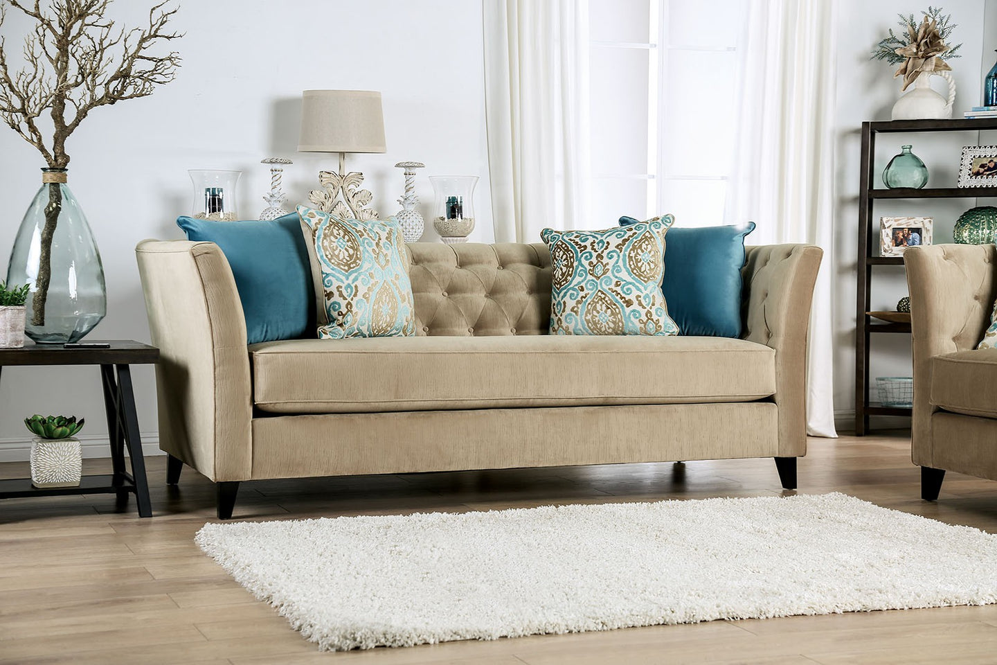 Furniture of America Monaghan Camel Chenille Upholstery Sofa
