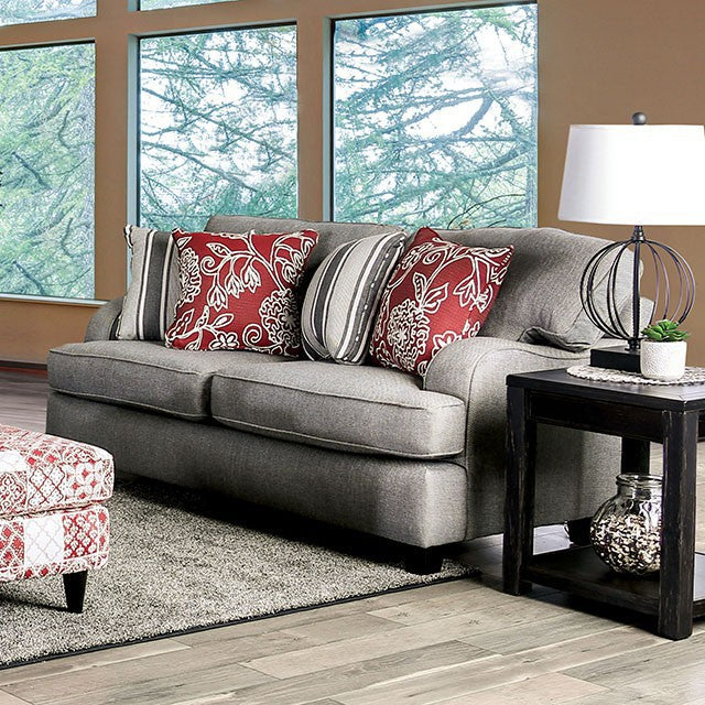 Furniture of America Ames Charcoal Finish Chenille Upholstery Loveseat