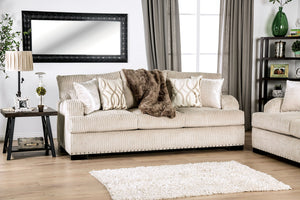 Furniture of America Zayla Golden Ivory Chenille Upholstery Sofa