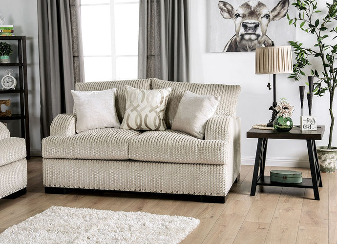 Furniture of America Zayla Golden Ivory Chenille Upholstery Loveseat