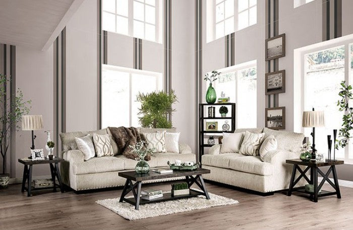 Furniture of America 2 Piece Zayla Golden Ivory Chenille Sofa Set
