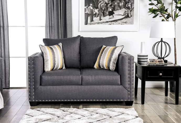 Furniture of America Inkom Slate Linen-Like Fabric Upholstery Loveseat