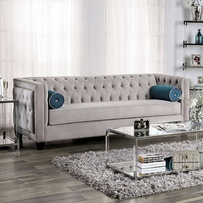 Furniture of America Silvan Gray Velvet-like Fabric Upholstery Sofa