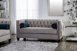 Furniture of America Silvan Gray Finish Velvet-like Fabric Loveseat