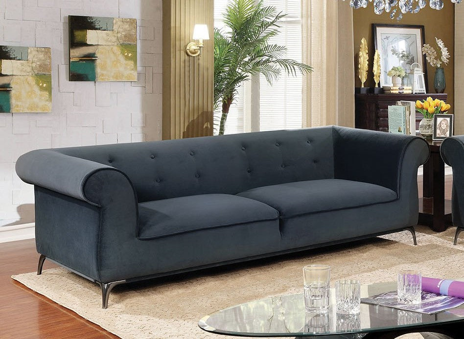 Furniture of America Gresford Gray Velvet-like Fabric Upholstery Sofa