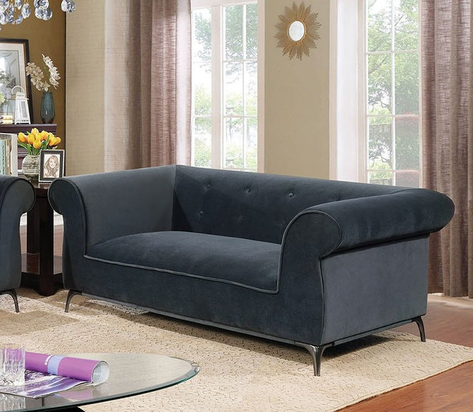 Furniture of America Gresford Gray Velvet-like Fabric Loveseat