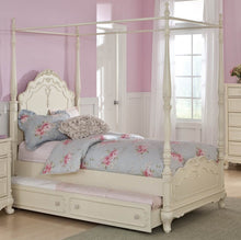 Load image into Gallery viewer, Homelegance Cinderella White Wood Finish Twin Canopy Bed With Trundle