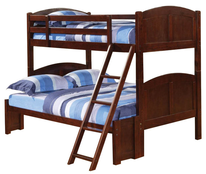 Homy Living Parker Cappuccino Wood Finish Twin Over Full Panel Bunk Bed