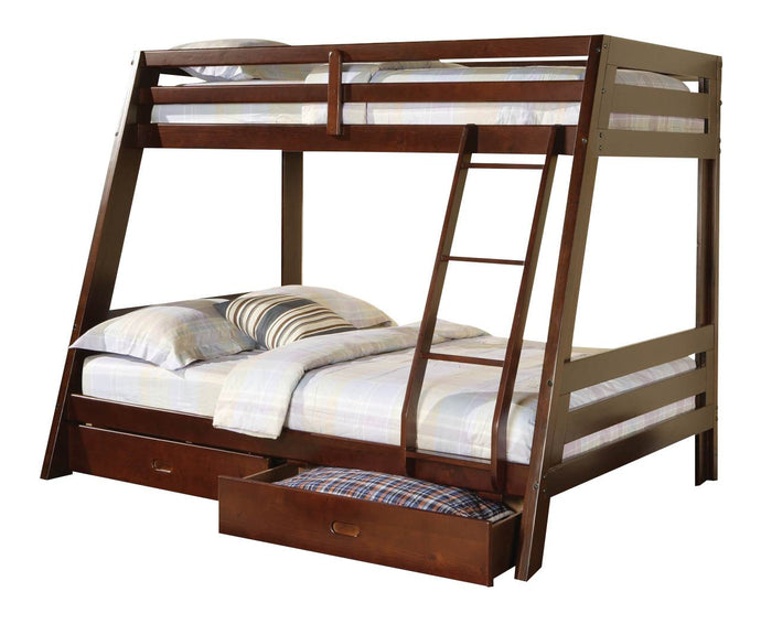 Homy Living Cappuccino Wood Finish Twin Over Full Bunk Bed with Storage Drawers