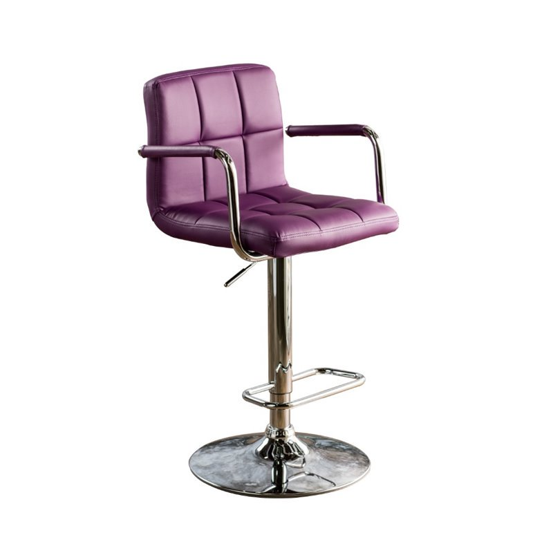 Corfu CM-BR6917PR Purple Finish Swivel Bar Stool With Armrests