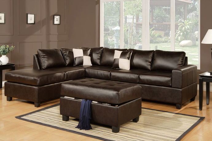 Poundex Espresso Bonded Leathers Reversible Sectional Sofa