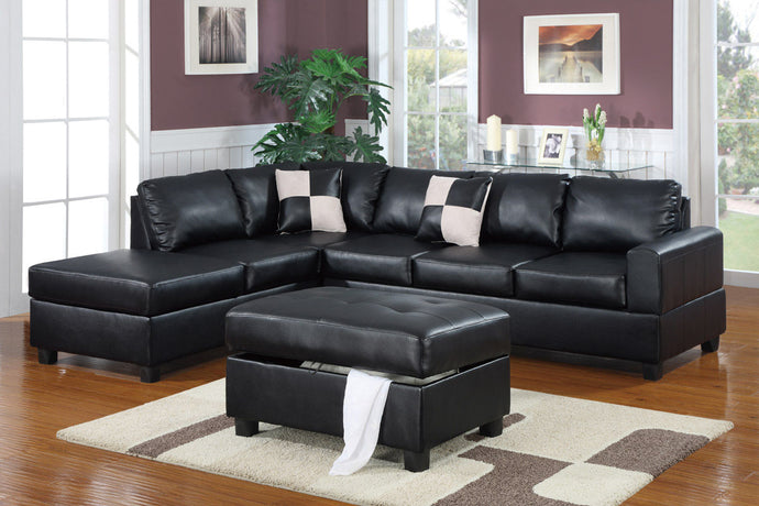 Poundex Black Bonded Leathers Reversible Sectional Sofa
