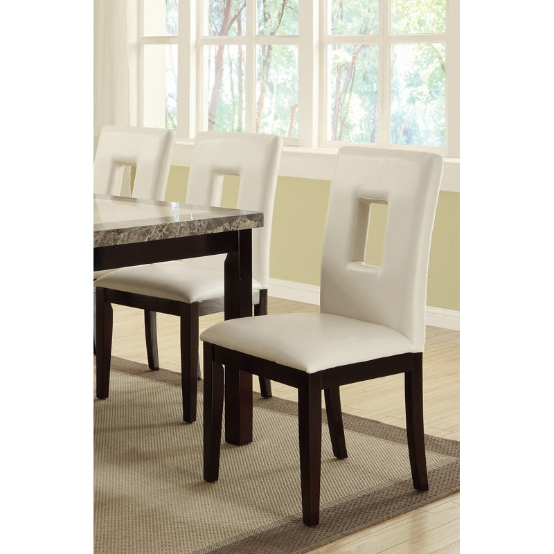 Poundex Dining Side Chair In White Faux Leather Set Of 2