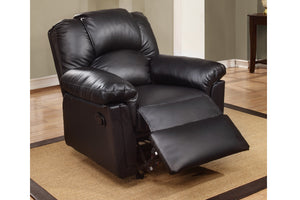 Poundex Black Bonded Leather Motion Rocker Recliner Chair