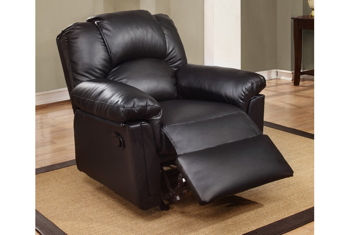 Poundex Black Bonded Leather Motion Rocker Recliner