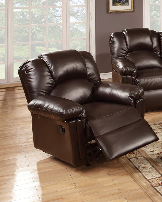 Poundex Espresso Bonded Leather Rocker Recliner Chair
