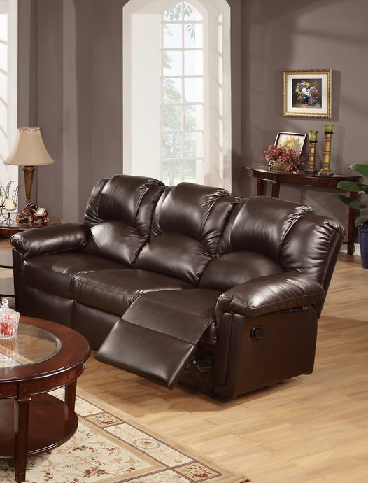 Poundex Espresso Bonded Leather Reclining Sofa
