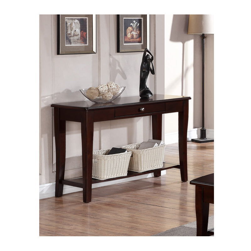 Poundex Dark Cherry Wood Finish Sofa Console Table