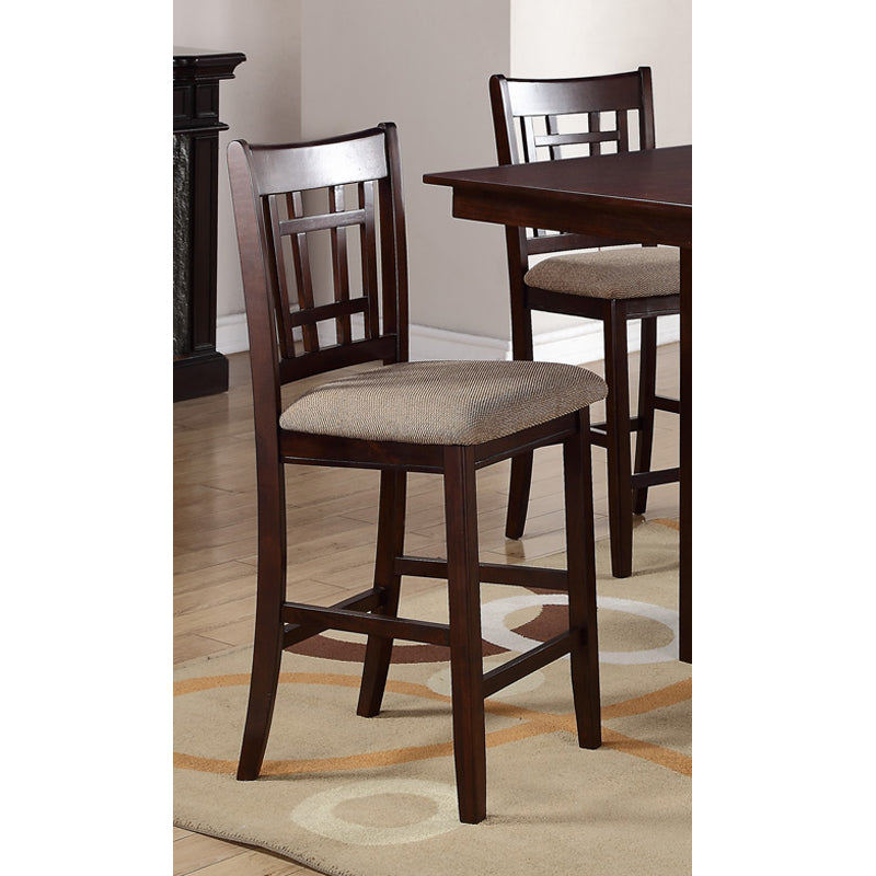 Poundex Brown Wood Finish Counter Height Chair Set Of 2