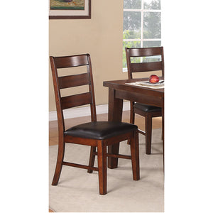 Poundex Slat Back Dining Side Chair In Walnut Finish Set Of 2