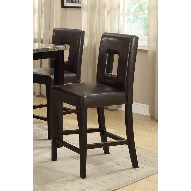 Poundex Dark Brown Faux Leather High Chair Set Of 2
