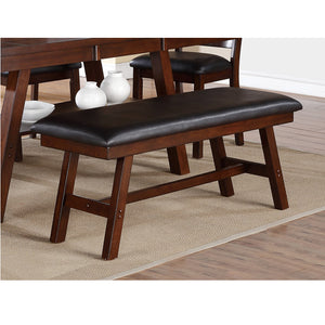 Poundex Dark Walnut With Cushioned Seat Dining Bench