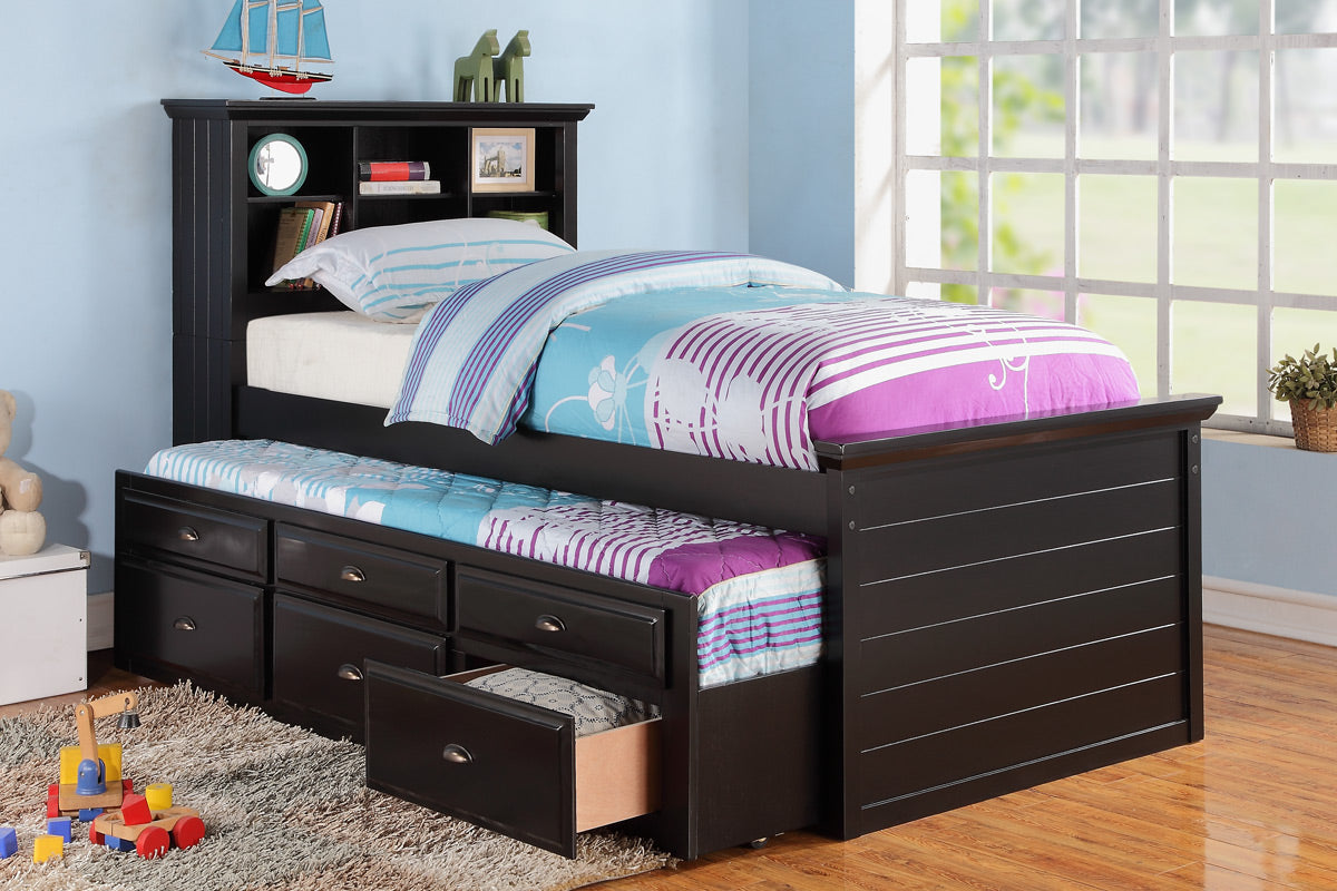 Black Wood Bookcase Kids Twin Bed Storage Trundle Drawer