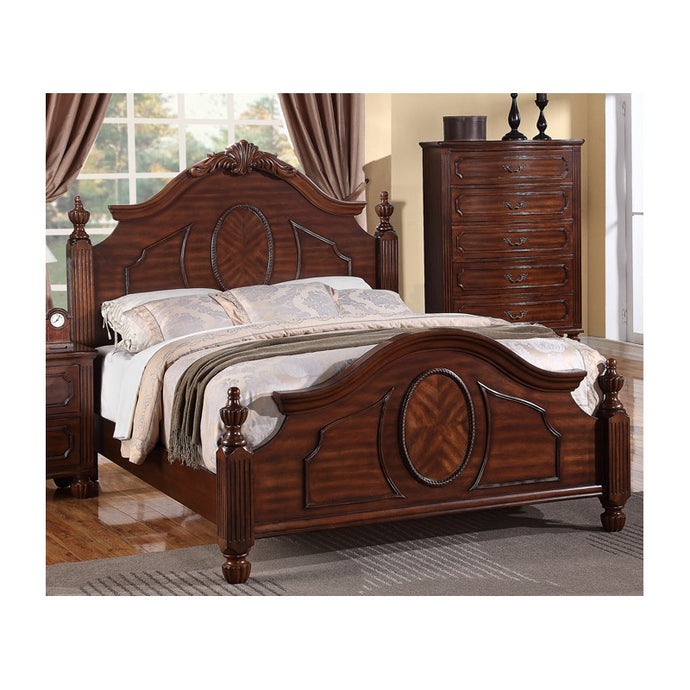 Poundex Brown Bed Room Eastern King Bed
