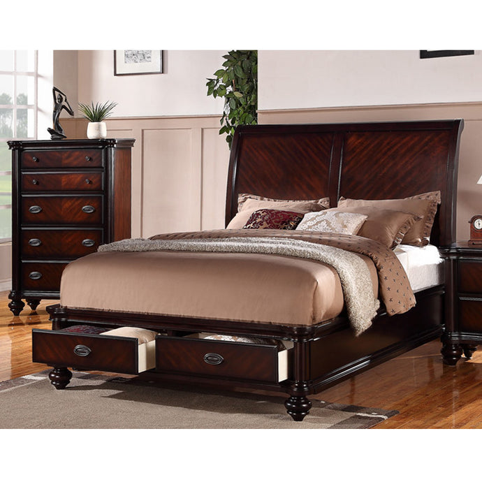 Poundex Cherry Wood Finish Eastern King Bed With Storage Drawer