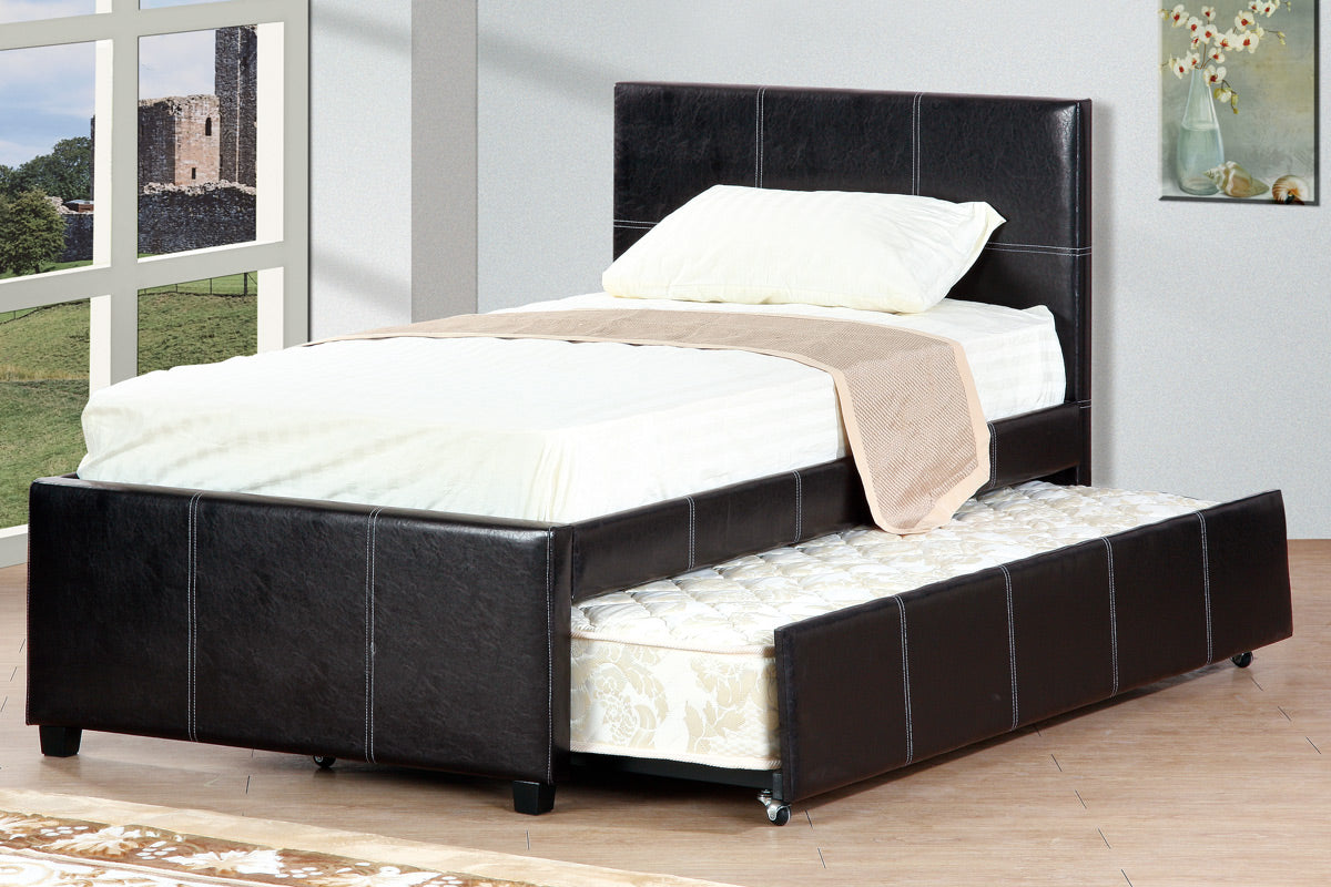 Poundex Espresso Platform Twin Bed With Trundle