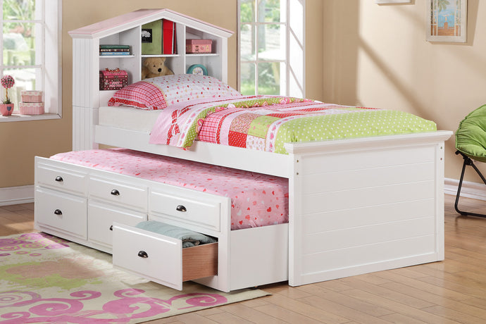 Poundex White Wood Finish Twin Bed With Bookcase Storage Drawer