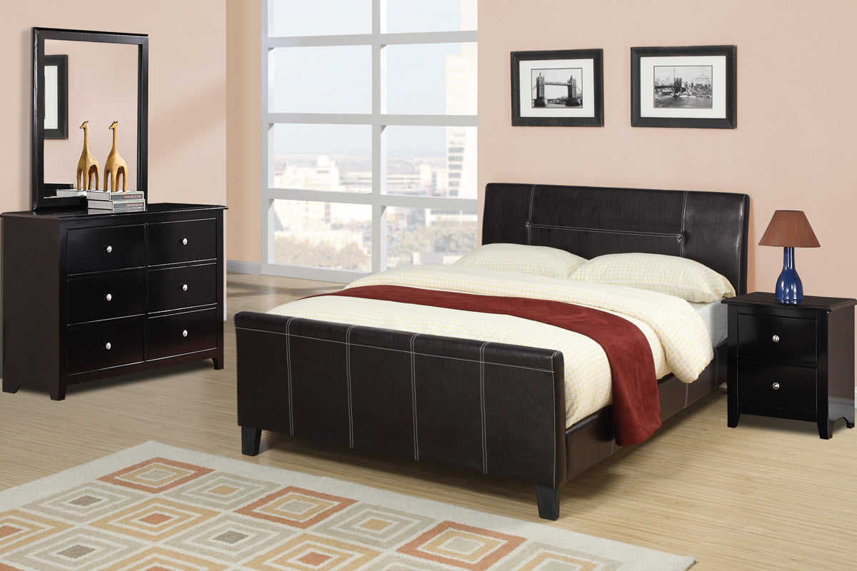 Poundex Espresso Faux Leather And Wood Finish Platform Queen Bed