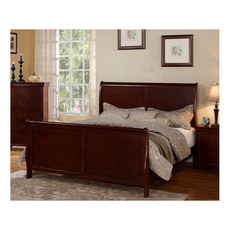 Poundex Cherry Wooden Finish California King Bed
