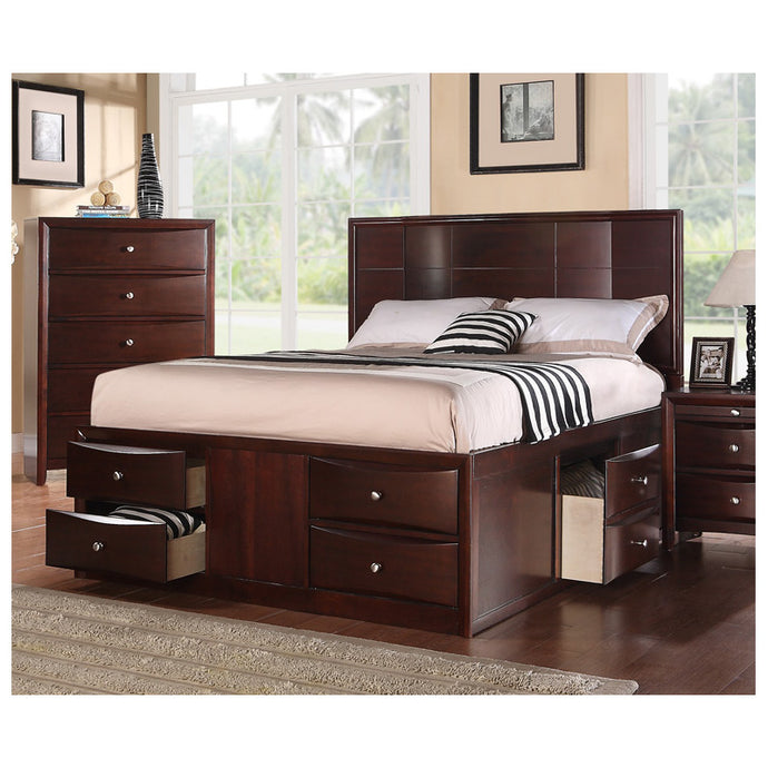Poundex Espresso Bed Room Queen Bed With Storage Drawers