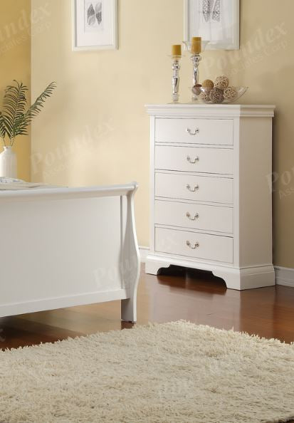 Poundex White Wood Chest With Drawers
