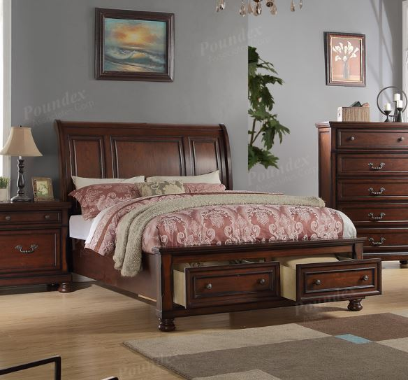 Poundex Cherry Wood Queen Bed With Storage Drawers