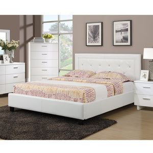 Poundex White Faux Leather And Wood Finish Platform Queen Bed