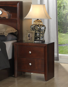 Poundex Cherry Wood Finish 2 Drawer Nightstand