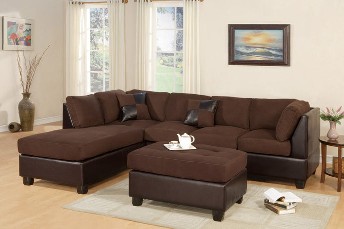 Poundex Chocolate Reversible Chaise Sectional Sofa Ottoman
