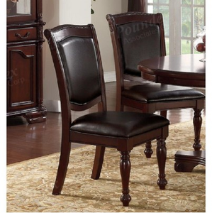 Poundex Dark Brown Faux Leather And Wood Finish 2 Piece Dining Chair