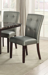 Poundex Silver Faux leather Finish 2 Piece Dining Chair