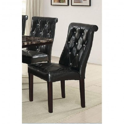 Poundex Black Faux Leather And Wood Finish 2 Piece Dining Chair